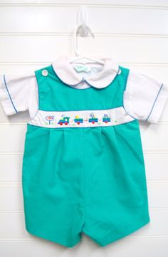 Vintage Baby Clothes/Two Piece Baby Boy Romper by OnceUponADaizy, $24.00