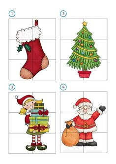 : 12 Christmas math puzzles for children and primary -Orientacion Andujar - - Christmas Puzzle, Christmas Math, Preschool Christmas, Christmas Activities, Christmas Printables, Christmas Colors, Preschool Crafts, Winter Christmas, Christmas Crafts For Kids To Make