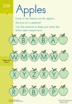 Worksheets: Patterning: Apples  preschool, KD patterning for math concepts