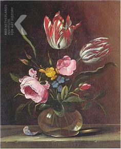 1653 - Aelst, van der Evert -  Flowers in a glass vase on a stone ledge
