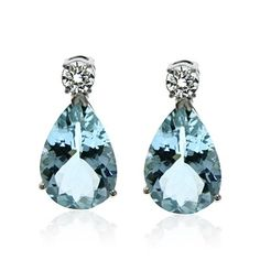 Round Brilliant Diamond Studs Pear Aquamarine Drop Earrings