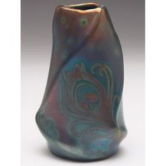 "Weller Pottery, Sicard line, organic twist vase, signed, 5-1/4""h, Treadway Gallery"