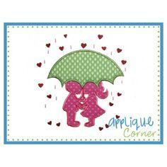 Umbrella Boy and Girl Applique Design