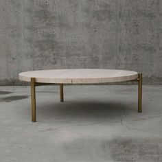travertine coffee table furniture and art designed and made in California Coffee Table Size, Brass Coffee Table, Round Coffee Table, C Table, Center Table, Dining Table, Design Furniture, Table Furniture, Travertine Coffee Table