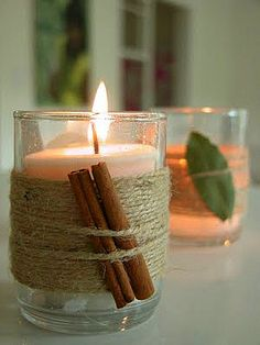 quick decor..... Jute twine wrapped around tea lights with cinnamon sticks or bay leaves.