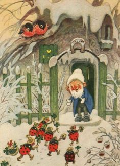 Build ladybug habitats for winter shelter Vintage Christmas Cards, Christmas Art, Happy Greetings, Illustration Mignonne, Art Fantaisiste, Baumgarten, Elves And Fairies, Magical Creatures, Children's Book Illustration