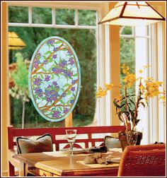 Beautiful stained glass floral pattern creates a bold focal point on windows, glass entry doors, storm doors, sliding glass doors and more. Adhesive-free film installs in minutes, looks great for years! The Biscayne design coordinates with many color m Entry Doors With Glass, Sliding Glass Door, Glass Doors, Window Clings, Window Decals, Bad Room Design, Etched Glass Vinyl, Decorative Glass, Accent Wallpaper