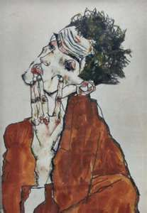 Egon Schiele: self portrait full of intensity and tormented energy,