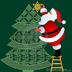 Santa standing on stepstool putting topper on tree in vector use together or separate)