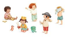 Antonia Woodward Illustration - antonia, woodward, antonia woodward, commercial, trade, picture book, picturebook, novelty, sweet, fiction, traditional, painted, child, person, children, boy, girl, play, playing, dress up, sleepy, yawn, toys, pirate, cleaning, brushing, teeth