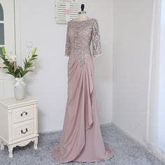 Cheap dress mother, Buy Quality mothers dresses for weddings directly from China mother dress Suppliers: Plus Size Brown 2017 Mother Of The Bride Dresses A-line Sleeves Chiffon Lace Wedding Party Dress Mother Dresses For Wedding Hijab Gown, Hijab Dress Party, Dress Brokat, Kebaya Dress, Lace Wedding Dress With Sleeves, Lace Bride, Lace Sleeves, Dress Lace, Wedding Party Dresses