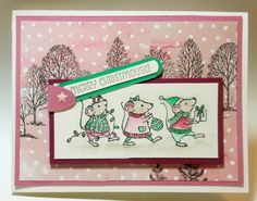 """Merry Christmouse! card created using Stampin' Up!'s """"Merry Mice stamp set - Bobbi Kincel, Bitty Paper Blast"""