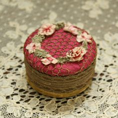 Antique 1920's French Ribbon Work Flowers Powder Box by TheFrenchLaundry on Etsy