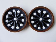 Vintage Danish Modern Wood Ceramic Enamel Coaster by EdibleComplex, $15.00