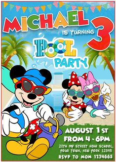 #birthdayparty #birthdayinvitation #birthdayprintable #BoyBirthday #girlBirthday #kidsBirthday #mickeymouse #mickeymouseBIRTHDAY #mickeymouseINVITE #mickeymousePARTY #poolparty #poolpartybirthday #poolpartyinvitation #poolpartyinvite #poolpartymickeymouse #printable #digital #invite #invitations #party #birthday Pool Party Birthday Invitations, Minnie Mouse Birthday Invitations, Printable Birthday Invitations, Minnie Birthday, Invitation Templates, Print Your Own Invitations, Mickey Mouse, Invite, Printables