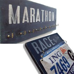 Great way to display those well-earned race bibs or medals -- finally a gift my mom could use Running Bibs, Running Gear, Hanging Medals, Race Bibs, Thing 1, Run Disney, Marathon Running, Running Workouts, Looks Cool