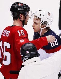Jonathan Toews hugs Patrick Kane after a men's hockey semifinal during the Winter Olympics in Sochi.