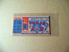 1961 Ticket Stub between Texas A & M and University of Texas on 11/23/61