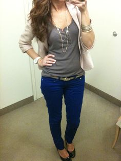 wear the color pants + neutrals = don't look like you are trying to dress too young and yet cute!