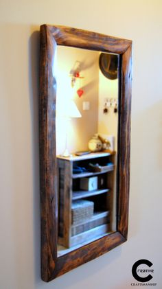 Pallet wood mirror frame Pallet Wood, Wood Pallets, Wood Framed Mirror, Handmade Wooden, Driftwood, Candle Sconces, Console, Frames, Wall Lights