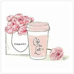 Chanel and latte illustration. Planner Stickers, Diy Stickers, Image Girly, Image Tumblr, Arte Fashion, Chanel Fashion, Paper Fashion, Mode Poster, Illustration Mode