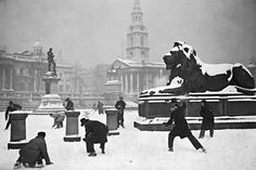 Battle of Trafalgar: 1931, and an impromptu snowball fight is under way in a snow-covered Trafalgar Square  Topical Press Agency/Getty