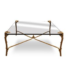 P.E. Guerin Bronze Coffee Table with 24K Gold at DecorNYC