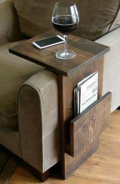 Use Leftover Pieces Of Wood To Wrap Around Your Couch Or Chair Arm