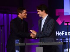 Some thought the idea of a prime minister tagging a late-night clone of Jon Stewart to dispense foreign aid a tad 'casual. Trudeau Canada, Trevor Noah, Jon Stewart, Justin Trudeau, Education Fund, Politics, Thoughts, Celebrities, Bro
