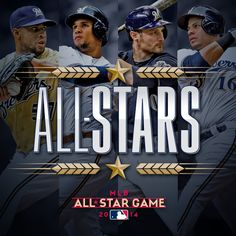 Jonathan Lucroy, K-Rod, Aramis Ramirez Carlos Gomez who will be representing the in Minnesota at the Star K, All Star, Cricket, Mlb Games, Home Team, Milwaukee Brewers, Wisconsin, Minnesota, Fangirl