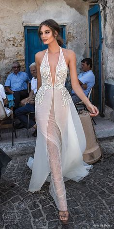 muse berta 2018 bridal sleeveless deep plunging v neck heavily embellished bodice sexy elegant sheath wedding dress a line overskirt open back chapel train (10) mv -- Muse by Berta 2018 Wedding Dresses #bridal #wedding