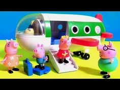 Pig George traveling by Plane in Peppa Pig Holiday Airplane Jet ~ Disney Toys Surprises PJ Masks - YouTube