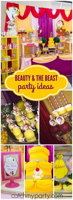 You have to see this beautiful Beauty and the Beast birthday! See more party ideas at http://Catchmyparty.com!