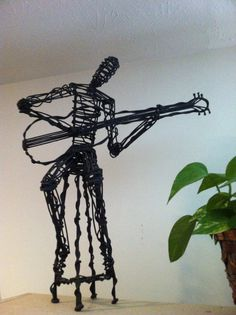 Wire Sculpture of Seated Guitar Player by EleanorGastonStudios, $125.00
