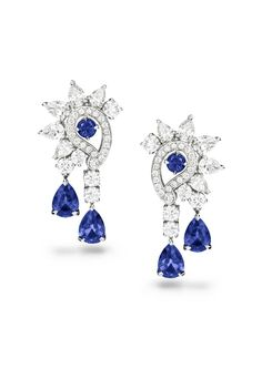 Piaget Earrings in 18K white gold set with 4 pear-shaped blue sapphires, 10 pear-shaped diamonds, 48 brilliant-cut diamonds and 2 round blue sapphires.