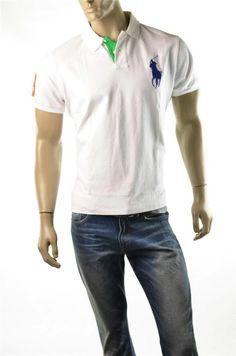 #Ralph Lauren White Shirts NWT Mens Custom Fit Lg Pony S/S #Polo Shirt  XL Tshirt
