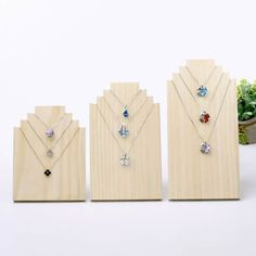 Wood Wooden Jewelry Display Stands Necklace Holder Show Shelf Unpainted Rack Wooden Jewelry Display, Jewelry Display Stands, Accessories Display, Necklace Display, Necklace Holder, Wood Necklace, Wooden Earrings, Jewelry Holder, Jewellery Display