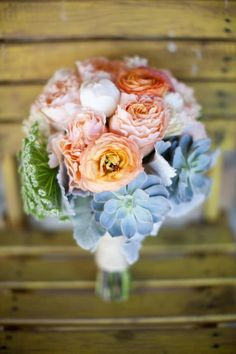 My Wedding Bouquet, Peonies, Ranunculus, Garden Rose, Queen Anne's Lace, Succulents Tube Rose and Dusty Miller Leaves. My recipe Made by Florentyna's, Calabasas. Photo By Andy Seo Photography