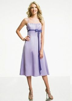 Satin Spaghetti Straps Tea Length Bridesmaid Dresses bridesmaiddresses20149