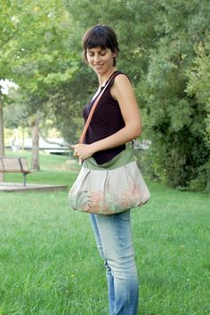 Handpainted and embroidered linen bag by Mundo Flo, Earth Collection