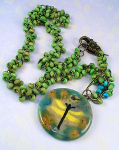 Lime Green Beaded Turquoise Dragonfly by RoEnchantedDesigns, $25.00