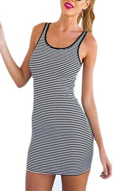 Generic Women's Stripe O-neck Slim Fit Wrap Hip Vest Dress *** Once in a lifetime offer : Women's Fashion for FREE