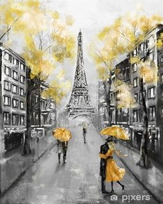Street of Paris France Europe Contemporary Art Mixed Media Canvas With Acrylic Em Gallery Wrap Ready To Hang Up To Size Paris Painting, City Painting, Yellow Painting, New York Painting, Street Painting, Painting People, Painting Flowers, France Wallpaper, Paris Wallpaper
