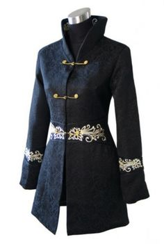 Oriental Chinese Mandarin Long length Jacket Blouse Top TL146