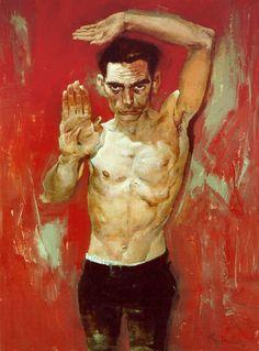 Kent Williams (b. 1962) {figurative male human body torso man texture grunge oil painting} www.kentwilliams.com