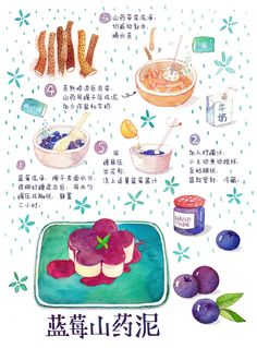 Dessert Notebook on Behance Menu Illustration, Food Illustrations, Blueberry Pastry Recipe, Recipe Drawing, Food Doodles, Food Sketch, Watercolor Food, How To Make Drawing, Food Painting