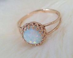 Anello opale bianco opale di fuoco gioielli Vintage di ChusCraft