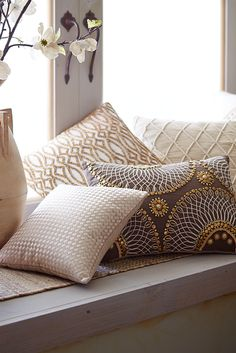 Go for a little glamour--or a lot--with Pier 1's Beaded Tile Pillow. Covered in tiny, metallic, sewn beads on a cotton cover, this is a one-of-a-kind creation from our Pier 1 designers.