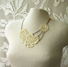 Lace Necklace: Beautiful mix media necklace by, White Owl by karen.x
