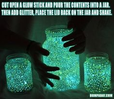 Cut open a glow stick and pour contents into a jar, then add glitter, place the lid back on the jar and shake......